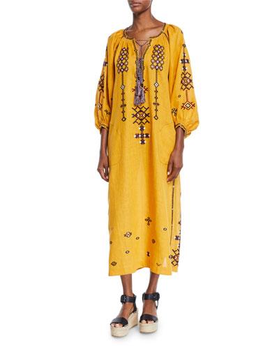 3/4-Sleeve Oxo-Stitch Peasant Dress