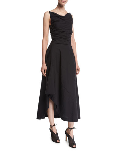 Sleeveless Cowl-Neck Asymmetric Midi Dress