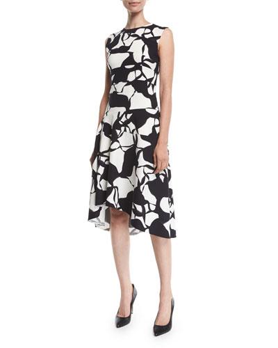 Sleeveless Leaf-Print Silk Knee-Length Dress