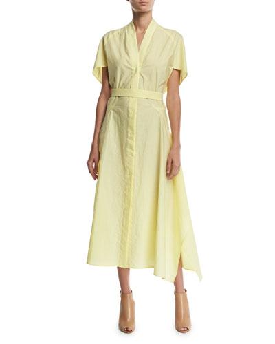 Flared-Sleeve V-Neck Poplin Midi Dress