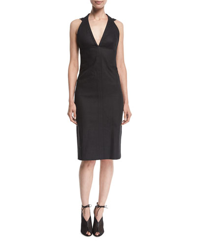 Sleeveless V-Neck Denim Pencil Dress