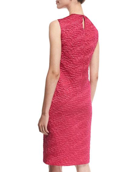 Sleeveless Draped Cloque Sheath Dress