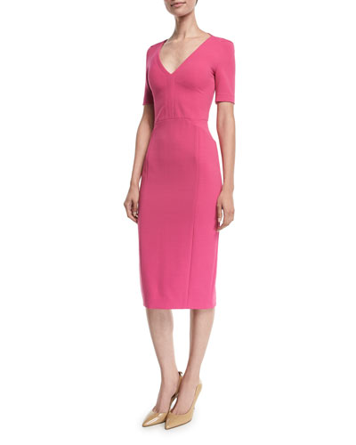 1/2-Sleeve V-Neck Scuba Pencil Dress