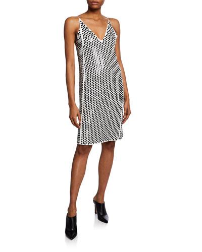 Embellished-Front Crepe V-neck Cocktail Dress