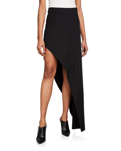 High-Low Asymmetric Wool-Twill Skirt