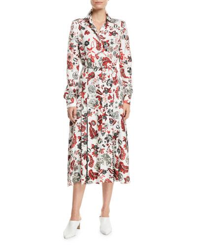 Jane Long-Sleeve Floral-Print Silk Midi Dress