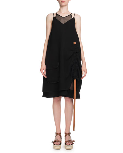 Sleeveless V-Neck Layered Trapeze Dress w/ Leather Straps