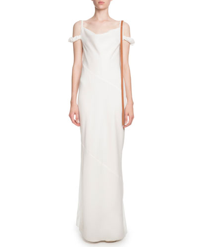 Cowl-Neck Cold-Shoulder Column Evening Gown w/ Leather Strap