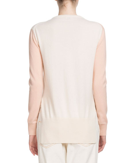 Wrap-Front Long-Sleeve Bicolor Cashmere Sweater