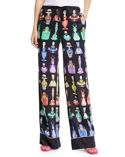 Mini Rainbow Perfume Bottle Print Silk Pajama Pants