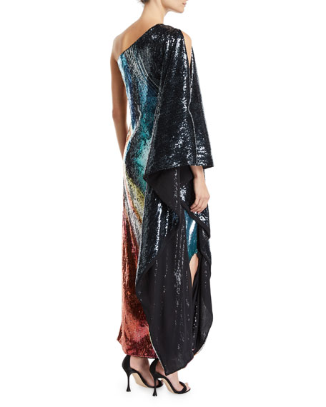 One-Shoulder Marbled Sequin Gown