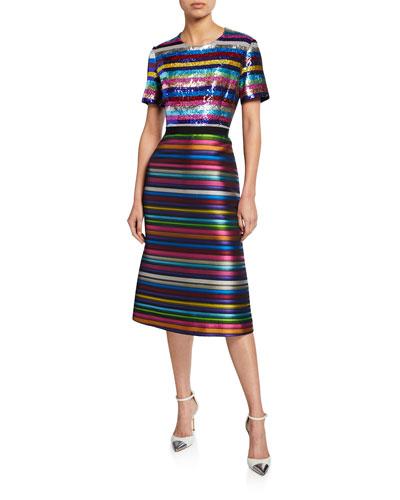 Short-Sleeve Rainbow Striped Jacquard Dress