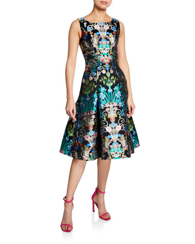 Chandelier-Print Satin A-Line Dress