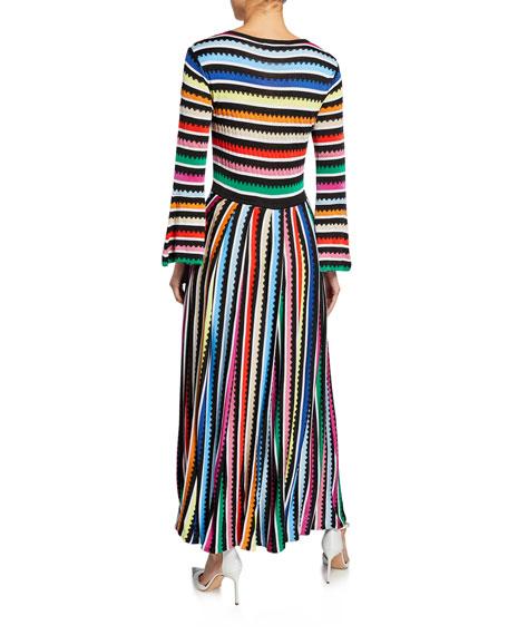 Long-Sleeve Rainbow Striped Dress
