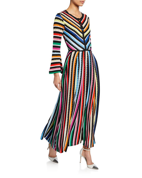 Mary Katrantzou LONG-SLEEVE RAINBOW STRIPED DRESS