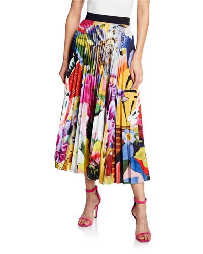 Uni Multi Floral Pleated Midi Skirt