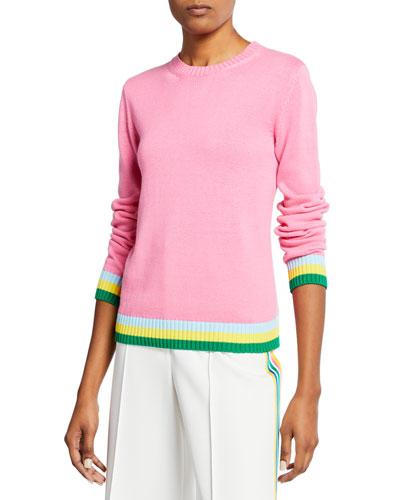 Stripe-Trim Cotton Crewneck Sweater