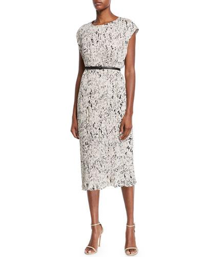 Rina Cap-Sleeve Graffiti-Print Plisse Belted Midi Dress