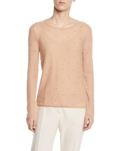 Embellished Powdered-Knit Sweater