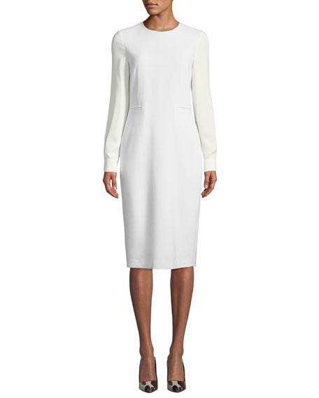 Maxmara Ottelia Georgette-Sleeve Sheath Dress