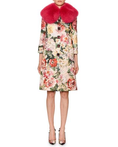 6bd64e4138 Shimmer Poppy Brocade Coat w  Faux-Fur Collar Quick Look. Dolce   Gabbana