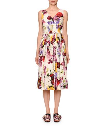 V-Neck Floral Poplin Midi Dress