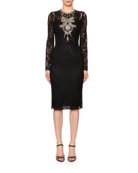 Long-Sleeve Crystal-Necklace Cordonetto Lace Dress