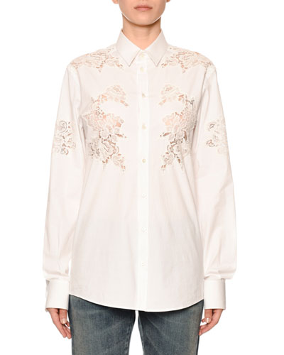 Long-Sleeve Button-Front Lace-Inset Poplin Blouse