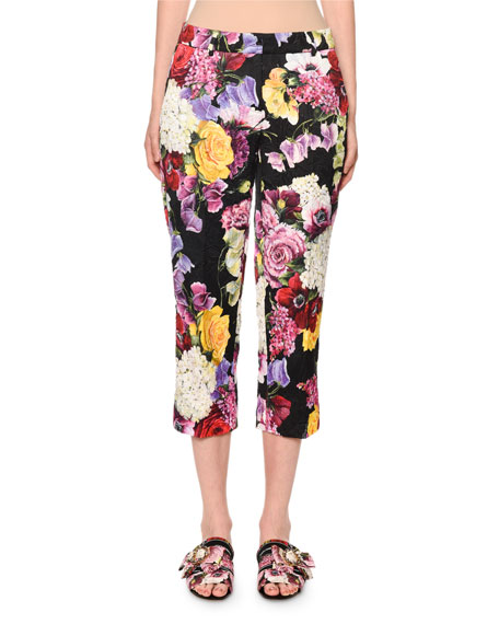 Dolce & Gabbana Multicolor Floral-Brocade Straight-Leg Crop Pants