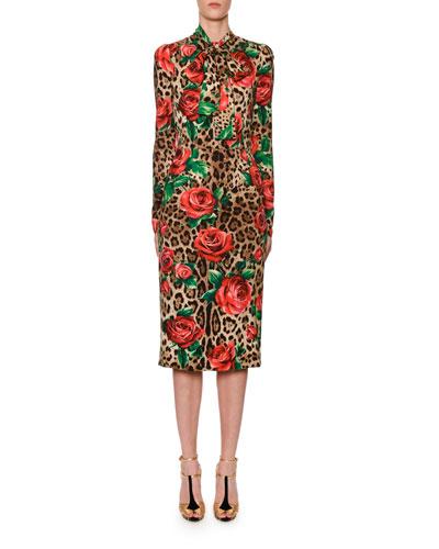 Long-Sleeve Scarf-Neck Rose & Leopard Print Charmeuse Dress