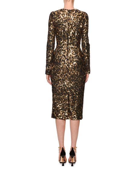 Dolce   Gabbana Long-Sleeve Sequined Leopard-Print Midi Dress d76fb4068