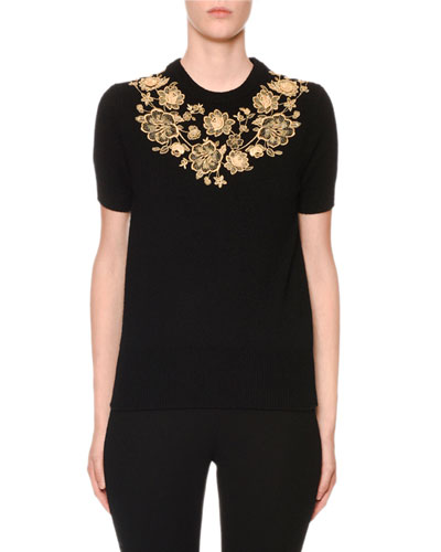 Cashmere Short-Sleeve Floral Embroidered Sweater
