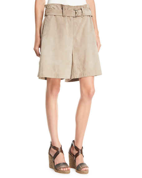 High-Rise Gathered-Waist Suede Shorts
