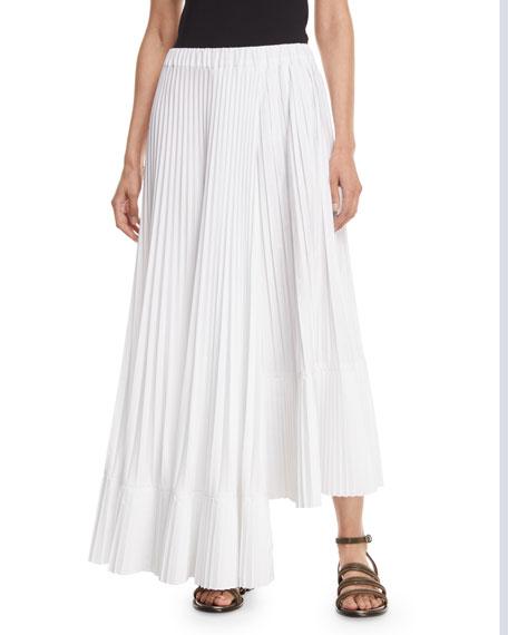 Brunello Cucinelli Asymmetric Pleated Poplin Maxi Skirt
