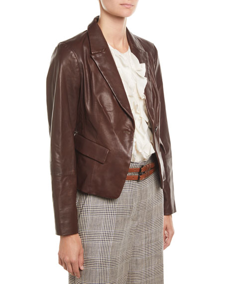 Brunello Cucinelli Country Leather One-Button Blazer Jacket