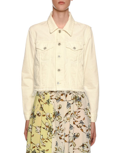 Embroidered Denim Crop Jacket