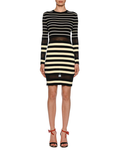 57f89c9eba3d Long-Sleeve Sheer Striped Bodycon Dress Quick Look. Off-White