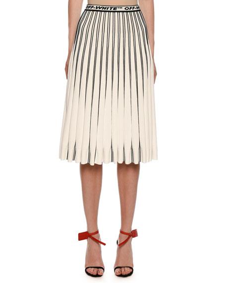 Off-White Colorblocked Plisse Midi Skirt, White