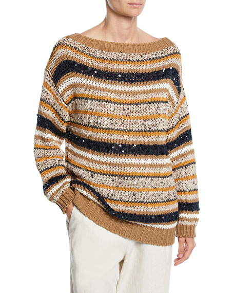 Brunello Cucinelli Striped Sequined Knit Sweater