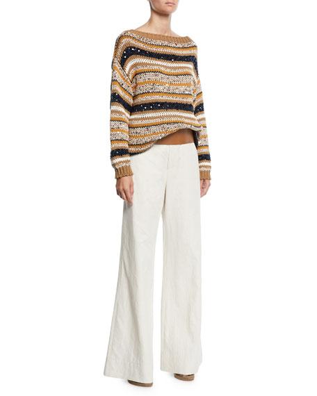 7ff30834a1 Brunello Cucinelli High-Waist Flare-Leg Linen-Cotton Pants