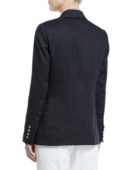 Double-Breasted Chevron Cotton-Linen Blazer