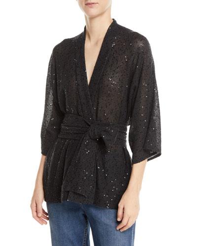 Sequin Linen/Silk Wrap Sweater