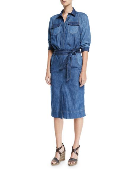Brunello Cucinelli Monili-Collared Denim Midi Shirtdress