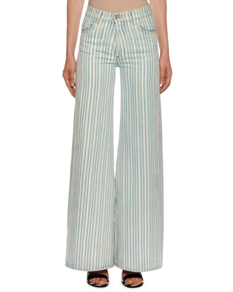 High-Waist Striped Flare Leg Jeans