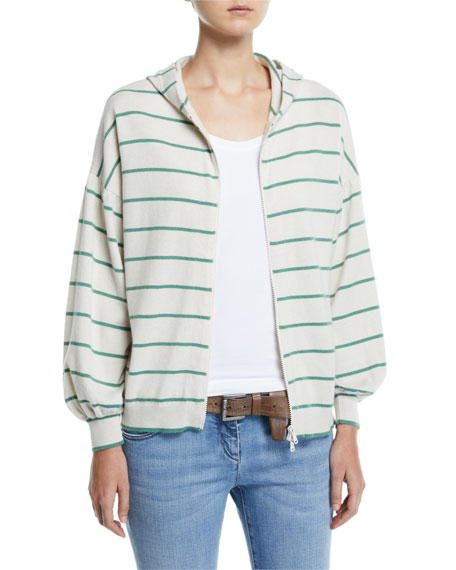 Brunello Cucinelli Striped Wool-Cashmere Balloon-Sleeve Zip-Front