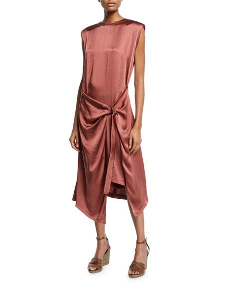 Sleeveless Charmeuse Wrap-Waist Midi Dress