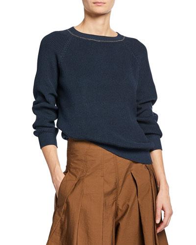 English-Ribbed Monili-Beaded Crewneck Sweater