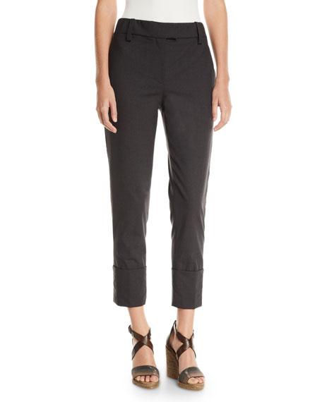 Brunello Cucinelli Mid-Rise Tropical Wool Monili-Cuffed Pants