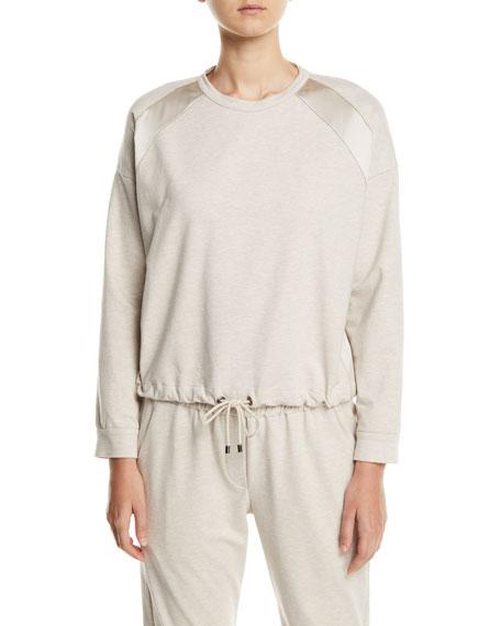 Brunello Cucinelli Spa Cotton Sweatshirt w/ Satin Trim