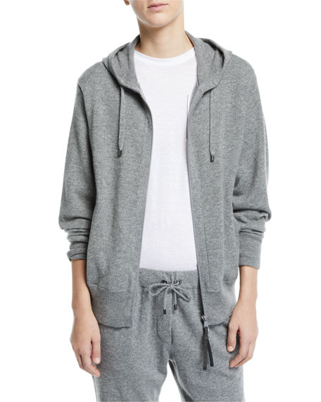 Cashmere Zip-Front Hoodie